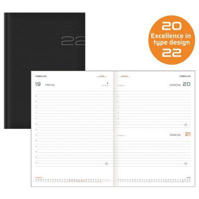 Terminkalender, Buchkalender, A5, schwarz