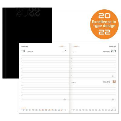 Terminkalender, Buchkalender, A5, schwarz Kunstleder