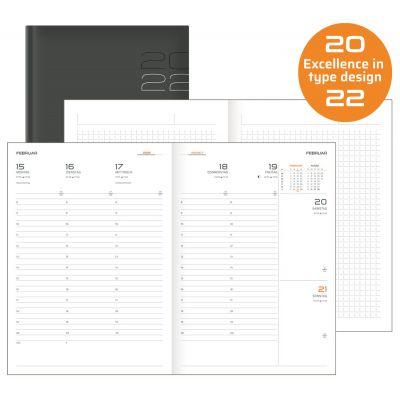 Terminkalender, Wochenkalender mit Notizen, A5, schwarz