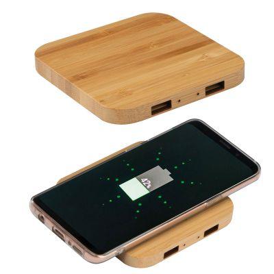 Wireless Charger aus Bambus mit 2 USB-Hubs beige