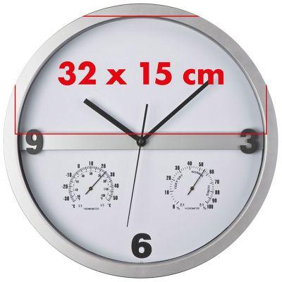 Wanduhr mit Hygro - und Thermometer, halbes Display bedruckbar