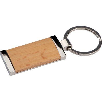 Schlüsselanhänger mit Holzstück braun