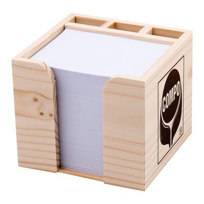 Zettelboxen, Zettelspeicher Holz Werbeartikel mit Logo (MW0000500)