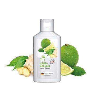 """50 ml Flasche weiß - Handbalsam """"Ingwer - Limette"""" - Body Label SA0011100 bedrucken"""